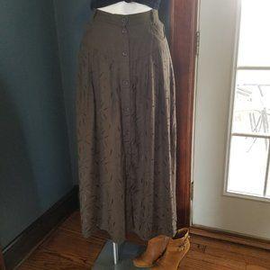 Vintage Olive Green Embroidered Leaf Maxi Skirt